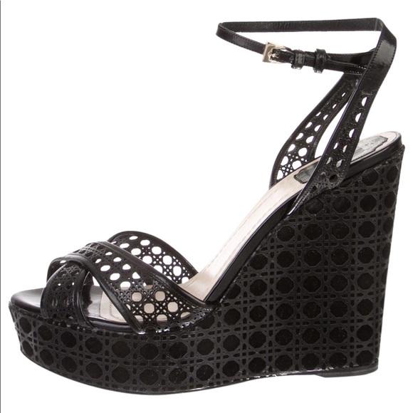 Dior Shoes | Black Dior Wedges Size 4